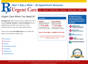 RX Urgent Care Website Design